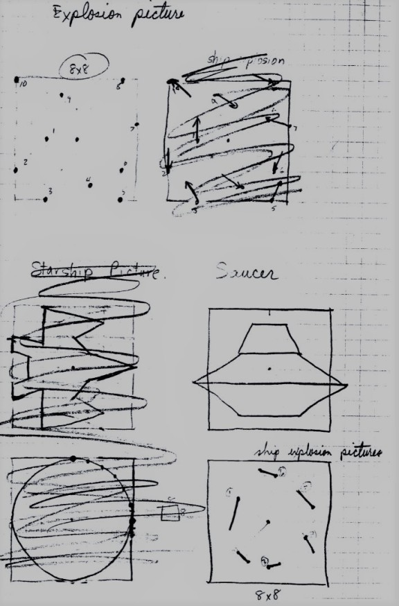 Asteroids Explosion Saucer Drawings